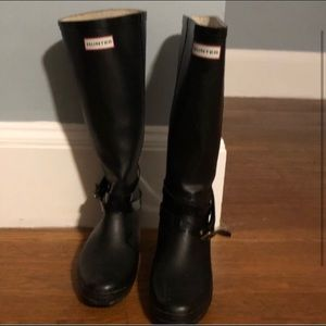 100% AUTHENTIC HUNTER WEDGE BOOTS BLACK